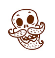 Hand Drawn Skull with a Moustache and Beard vector image