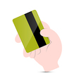 Hand Holding Green Credit Card vector image vector image