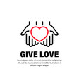 hands with heart icon give love relationships on vector image vector image