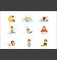 happy kids dreaming and fantasizing cartoon vector image vector image
