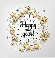happy new year card with stars and snowflakes vector image