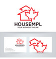 house maple logo design vector image vector image