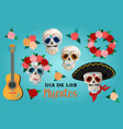 invitation set to the day of the dead party dea vector image