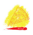 isolated pizza outline vector image vector image