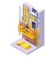 isometric building facade insulation vector image vector image