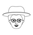 male face with hat and glasses with modern vector image