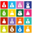 Money bags set icons on colored squares vector image