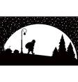 santa claus walking at night vector image vector image