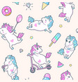 seamless pattern with cute little unicorns vector image