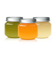 set of glass jar mock up for baby food puree vector image
