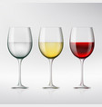 set of glasses with red and white wine and water vector image vector image