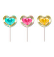 set of romantic lollipops in the shape of a heart vector image