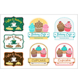 Sweet cupcake bakery badge label logo vector image vector image
