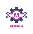 technology letter m - logo template concept vector image vector image