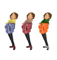 teenage girl cartoon character set vector image