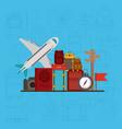 travel around the world set icons vector image