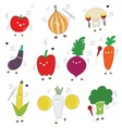 veggies color cute character with music instrument vector image