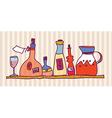 Wine bottle shelf home design vector image