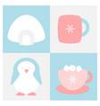 winter flat icon set vector image