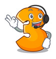 with headphone number three isolated on the mascot vector image vector image