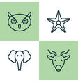 zoology icons set collection of starfish trunked vector image vector image