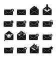 letters mail set in black simlpe style vector image