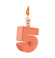 5 years birthday number with festive candle for vector image vector image