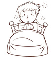 A plain sketch of a boy waking up vector image vector image