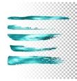azure metallic paint brush stroke set