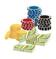 betting gambling concept poker chips golden vector image vector image