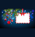 blue christmas tree banner vector image vector image