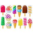 cartoon ice cream delicious ice cream cones vector image vector image