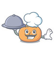 chef with food mochi mascot cartoon style vector image