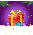 christmas with gift box and color baubles vector image vector image