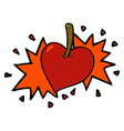 comic cartoon love heart cherry vector image vector image