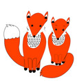 cute couple of foxes in simple doodle style vector image