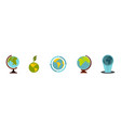 earth globe icon set flat style vector image vector image