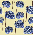 exotic blue bright leaves seamless pattern vector image vector image