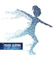 figure skating player silhouette halftone vector image vector image