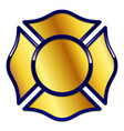 fire rescue logo base gold with dark blue trim vector image