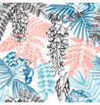 floral backdrop with hand-sketched trees in vector image vector image