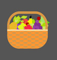 fruit basket icon apple orange bananas pear and vector image