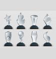 glass awards realistic transparent winner trophy vector image vector image