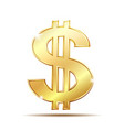 golden dollar symbol with two vertical lines i vector image vector image