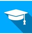 Graduation Cap Flat Long Shadow Square Icon vector image vector image