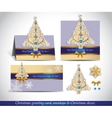 Greeting cards with golden ornate Christmas tree vector image vector image