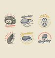 hedgehog badge set spiny forest wild animal label vector image vector image