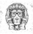 hipster animal lion hand drawing muzzle of lion