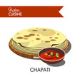 indian chapati with hot sauce isolated cartoon vector image