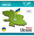 isometric map and flag ukraine sovereign vector image